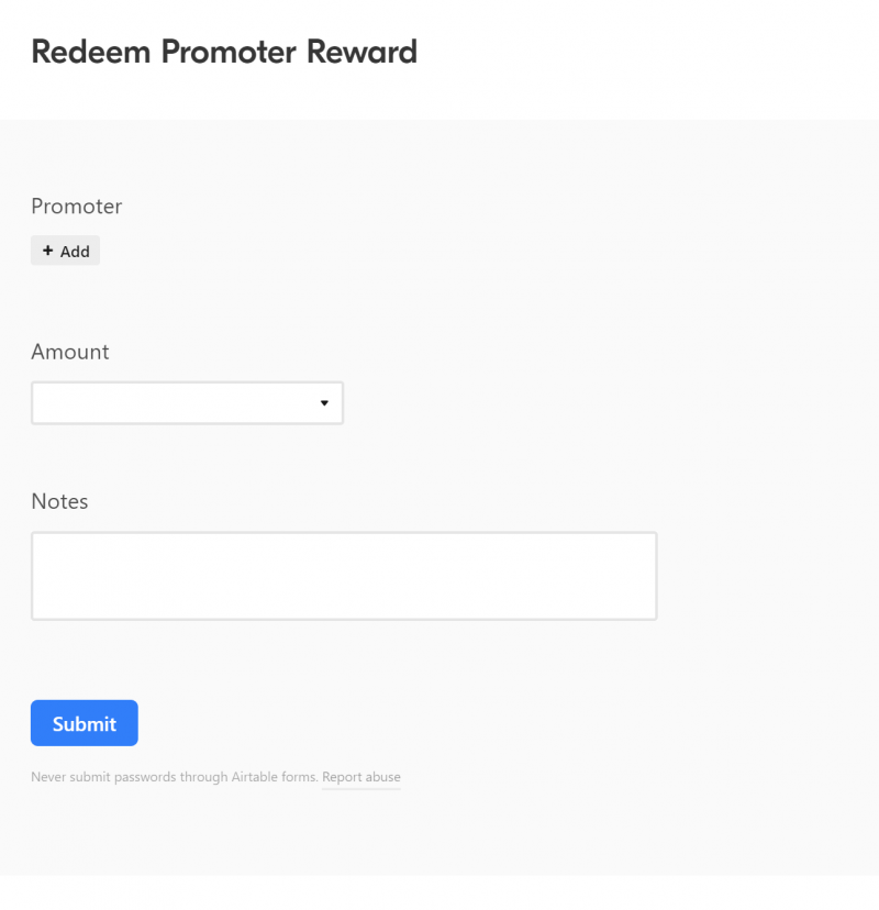 Redeem Promoter Rewards form for your promoter requesting a payout of their reward on our referral tracking spreadsheet