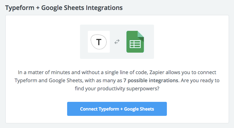 Typeform Google Sheets Integrations Zapier