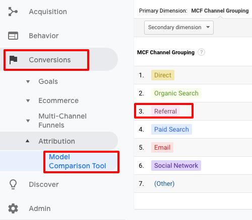 ga attributionConversionsModel comparison toolreferral