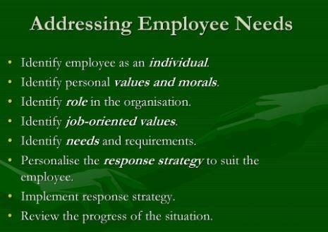 Employee Needs and Organizational Productivity