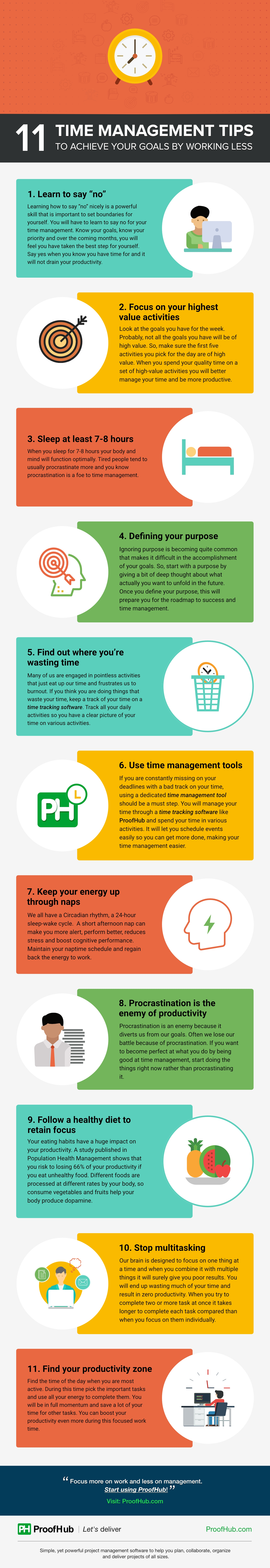 11 Time Management Tips To Achieve Your Goals By Working Less [Infographic]