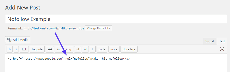 Add nofollow attribute to links HTML