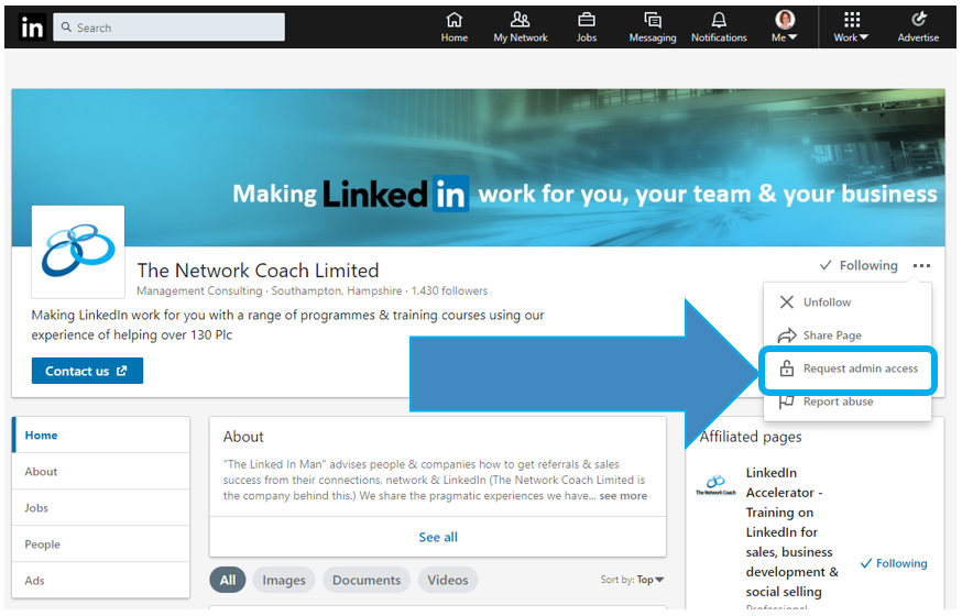 How Can I Get to Become Admin on a LinkedIn Company Page?