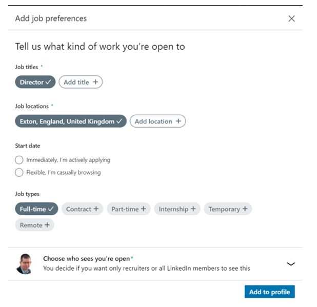 #OpenToWork on LinkedIn