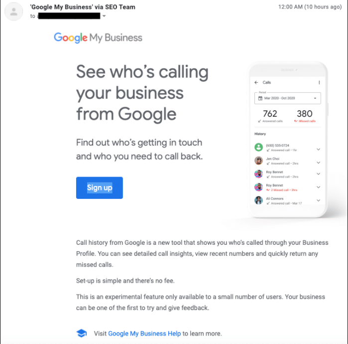 Google My Business is Testing a New Call History Feature