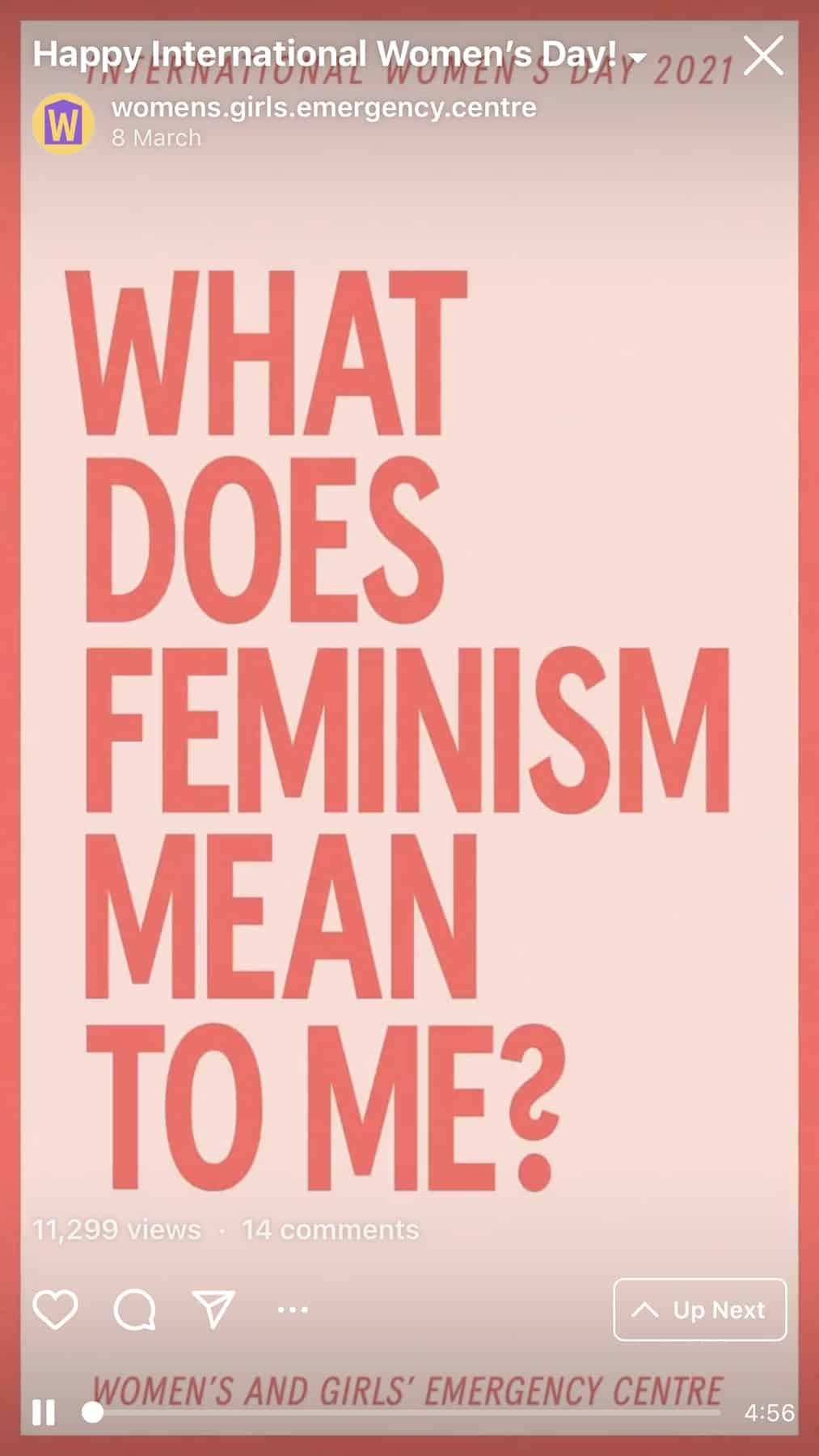 Women and girls emergency centre asking what does feminism mean to me?