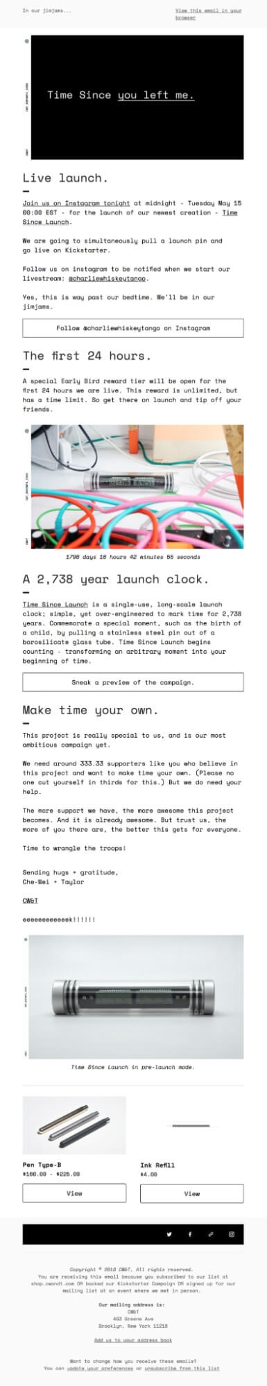 CW and T product launch email